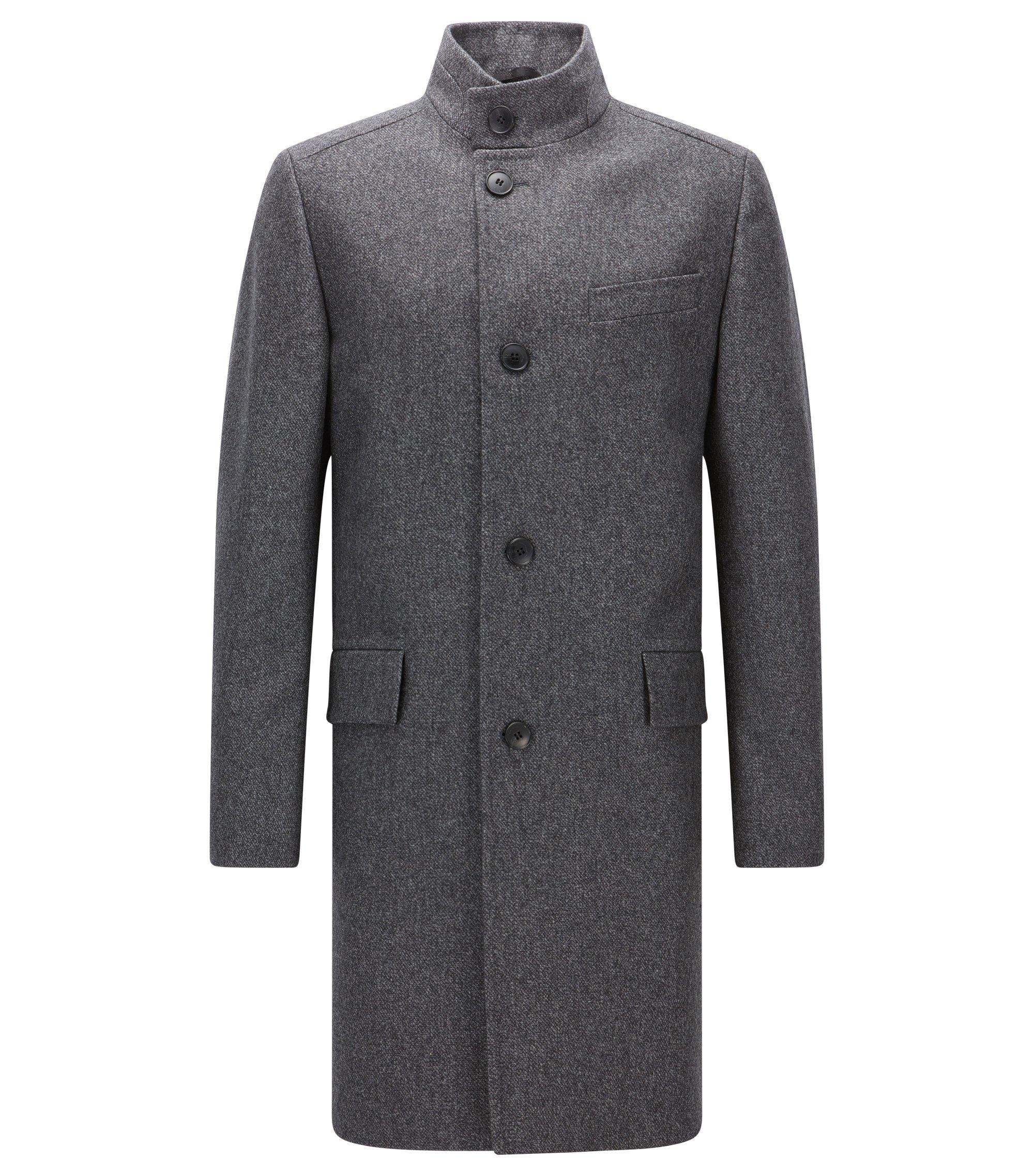 Abrigo regular fit en mezcla de lana jaspeada, Gris oscuro