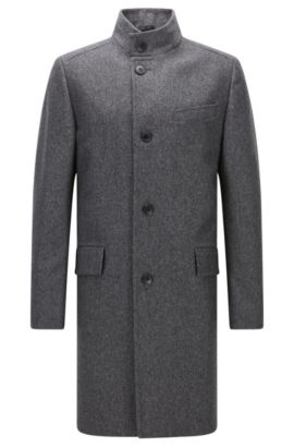 Regular-fit coat in a melange wool blend, Dark Grey
