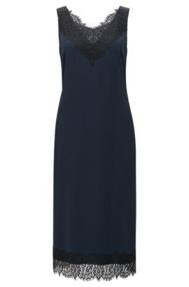Vestido regular fit en crepé con reverso de satén, Azul oscuro