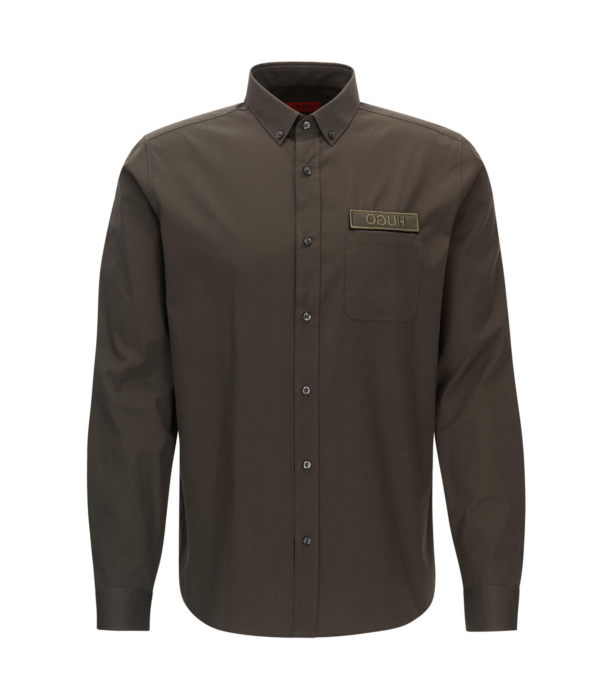 Relaxed-fit shirt in cotton poplin, Dark Green