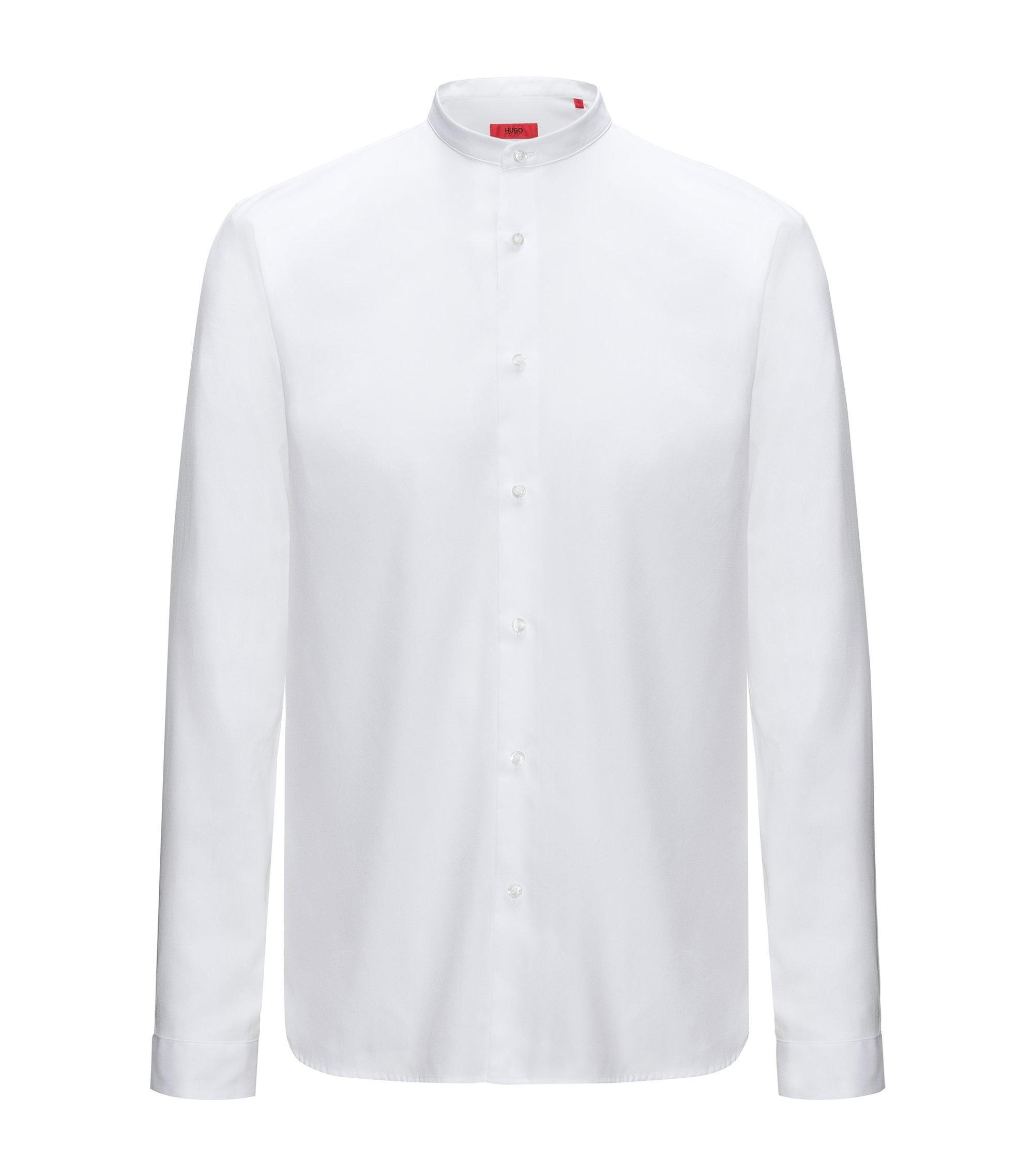 Chemise Relaxed Fit en coton à col mao, Blanc