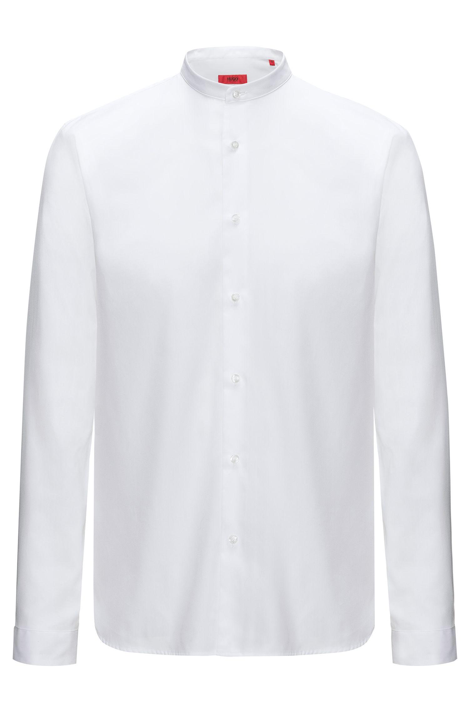 Camicia in cotone relaxed-fit con colletto rialzato