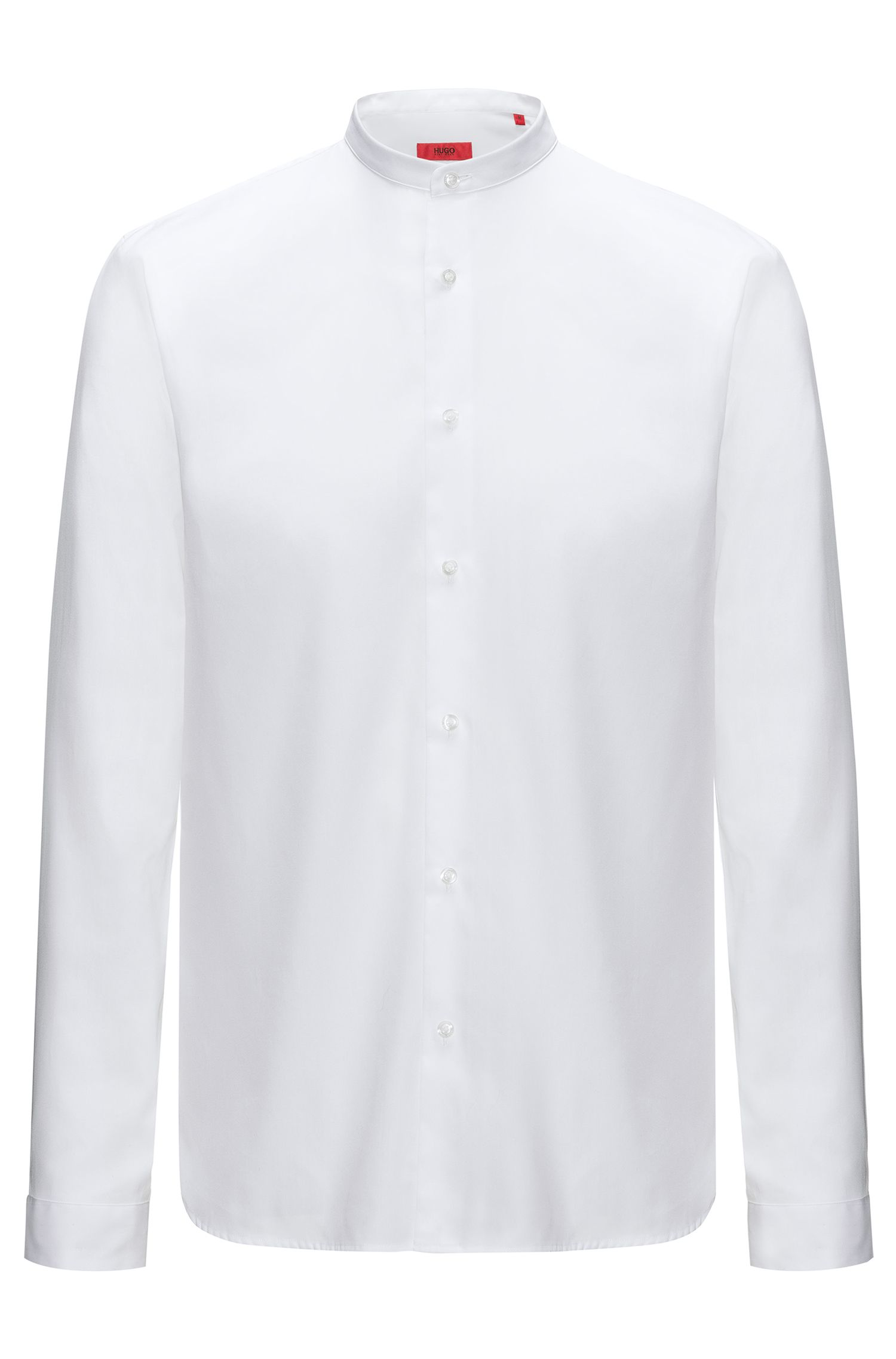 Camisa de algodón relaxed fit con cuello mao