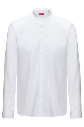 Camicia in cotone relaxed-fit con colletto rialzato, Bianco