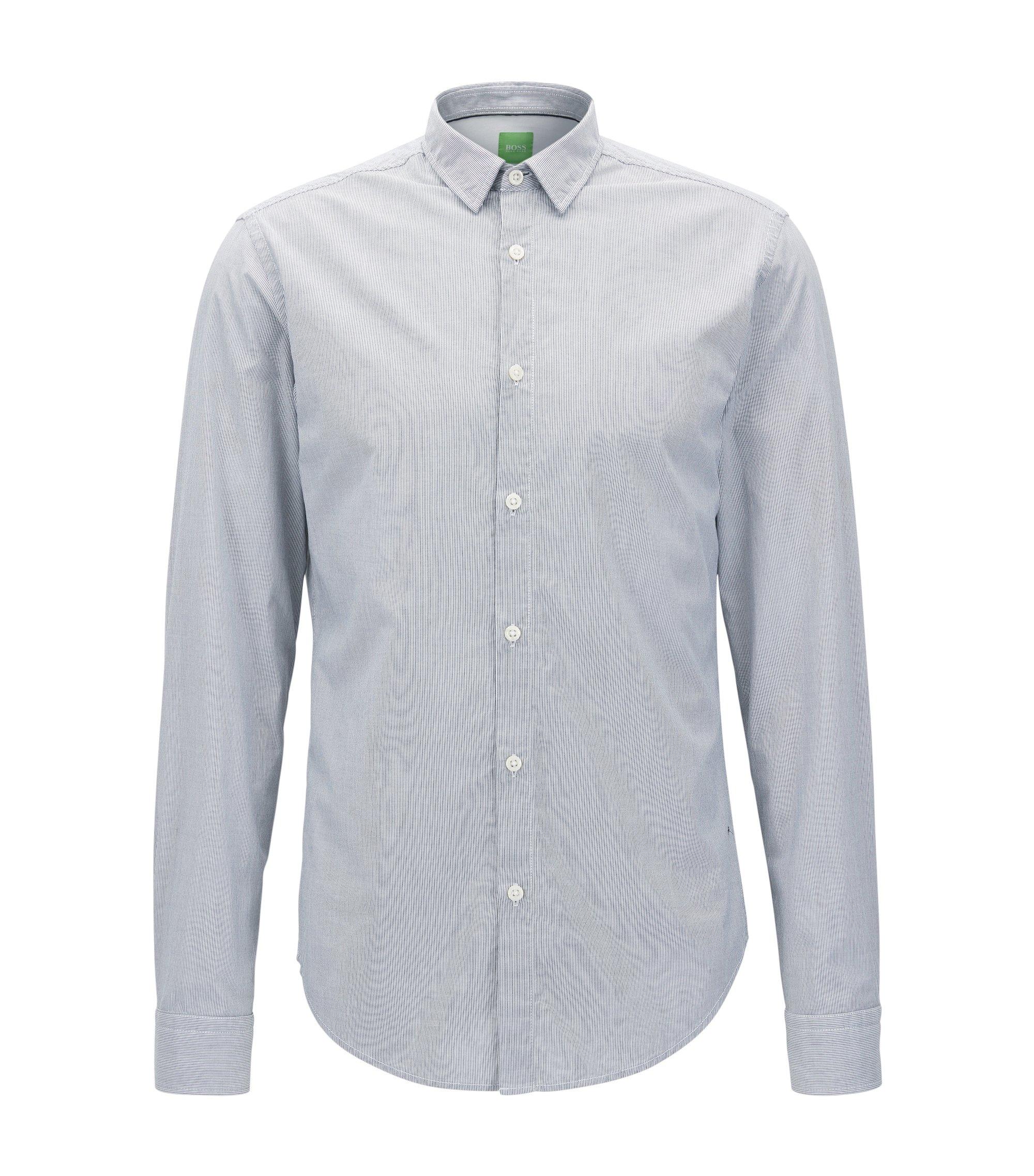 Chemise en coton Regular Fit à fines rayures au toucher peau de pêche, Bleu vif