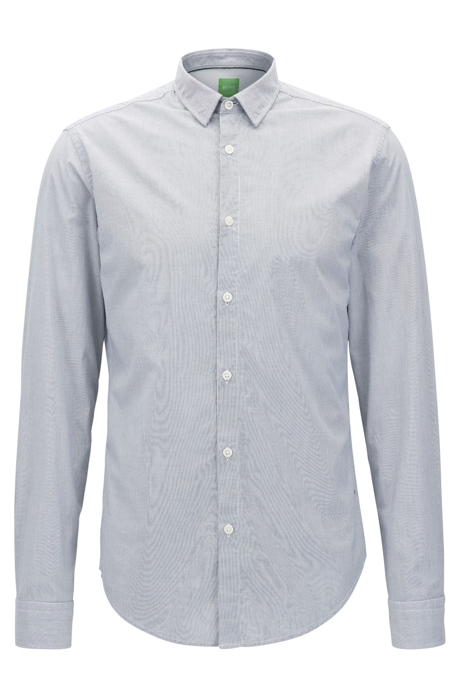 Camisa regular fit de rayas finas en algodón supersuave