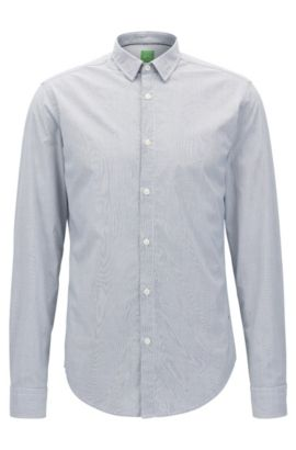 Camicia regular fit in cotone manopesca a righe sottili, Celeste