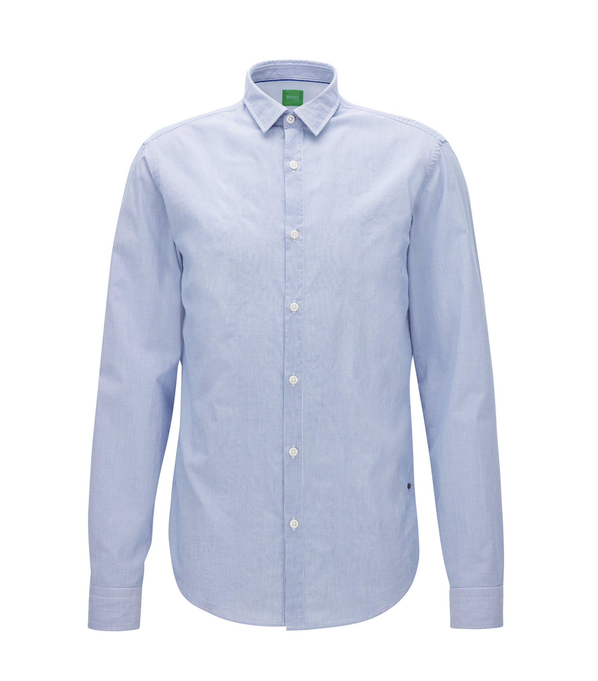 Fein gestreiftes Regular-Fit Hemd aus angerauter Baumwolle, Blau