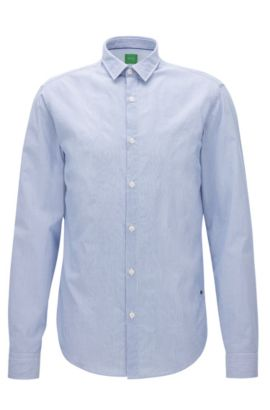Finely striped peached cotton shirt in a regular fit, Blue