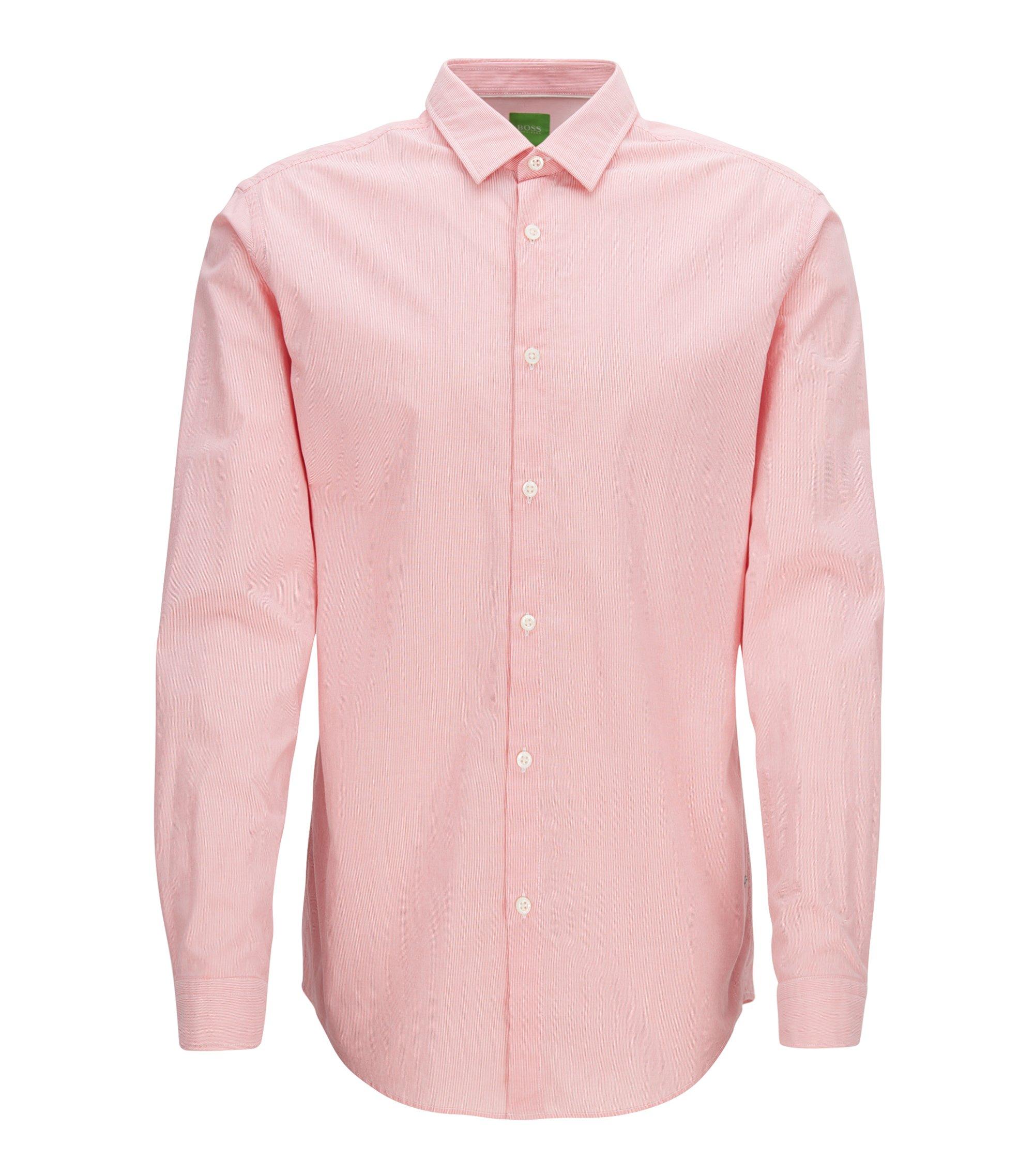 Chemise en coton Regular Fit à fines rayures au toucher peau de pêche, Rouge clair