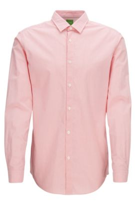 Finely striped peached cotton shirt in a regular fit, Light Red