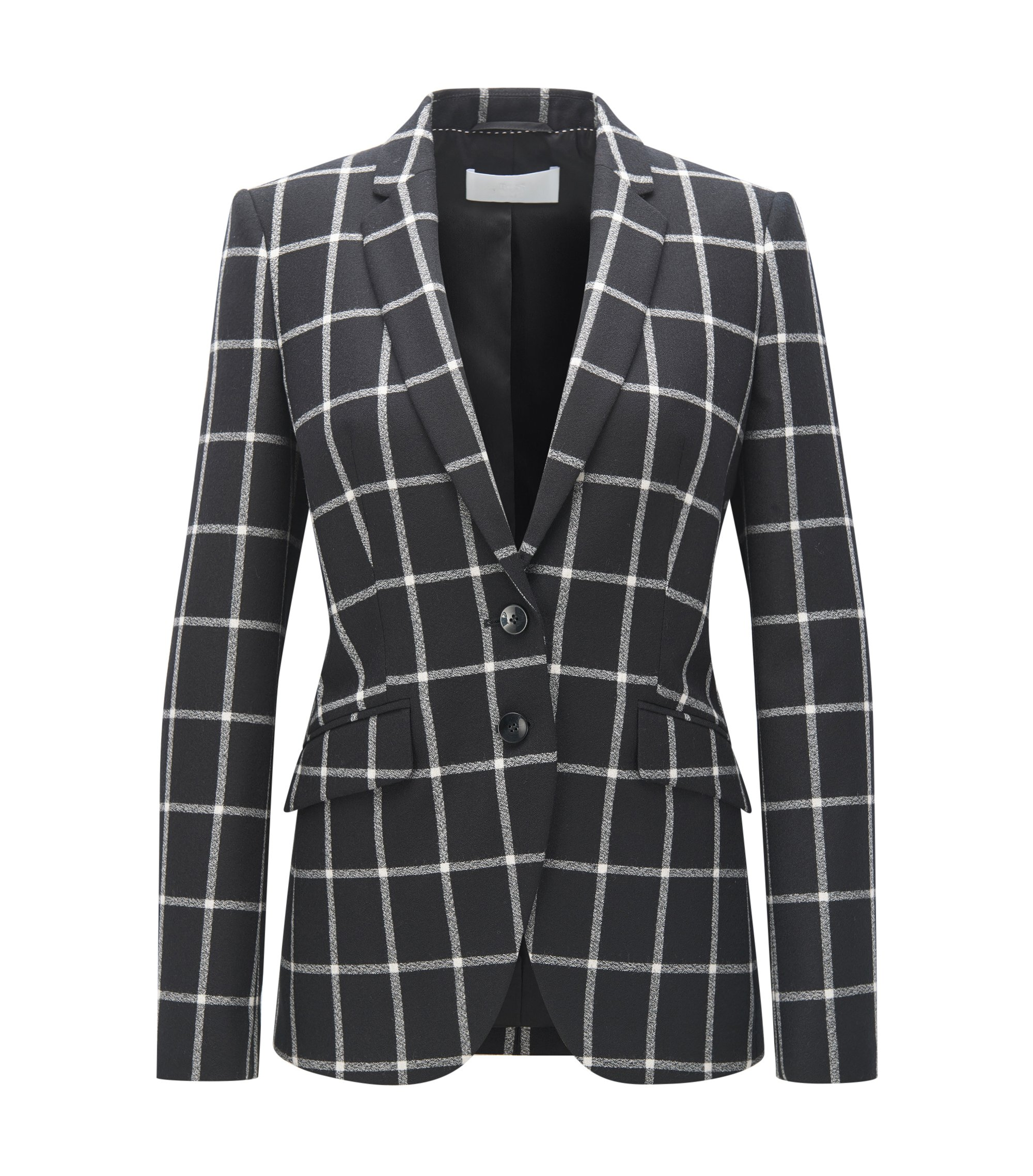 Checked wool jacket in a regular fit, Patterned