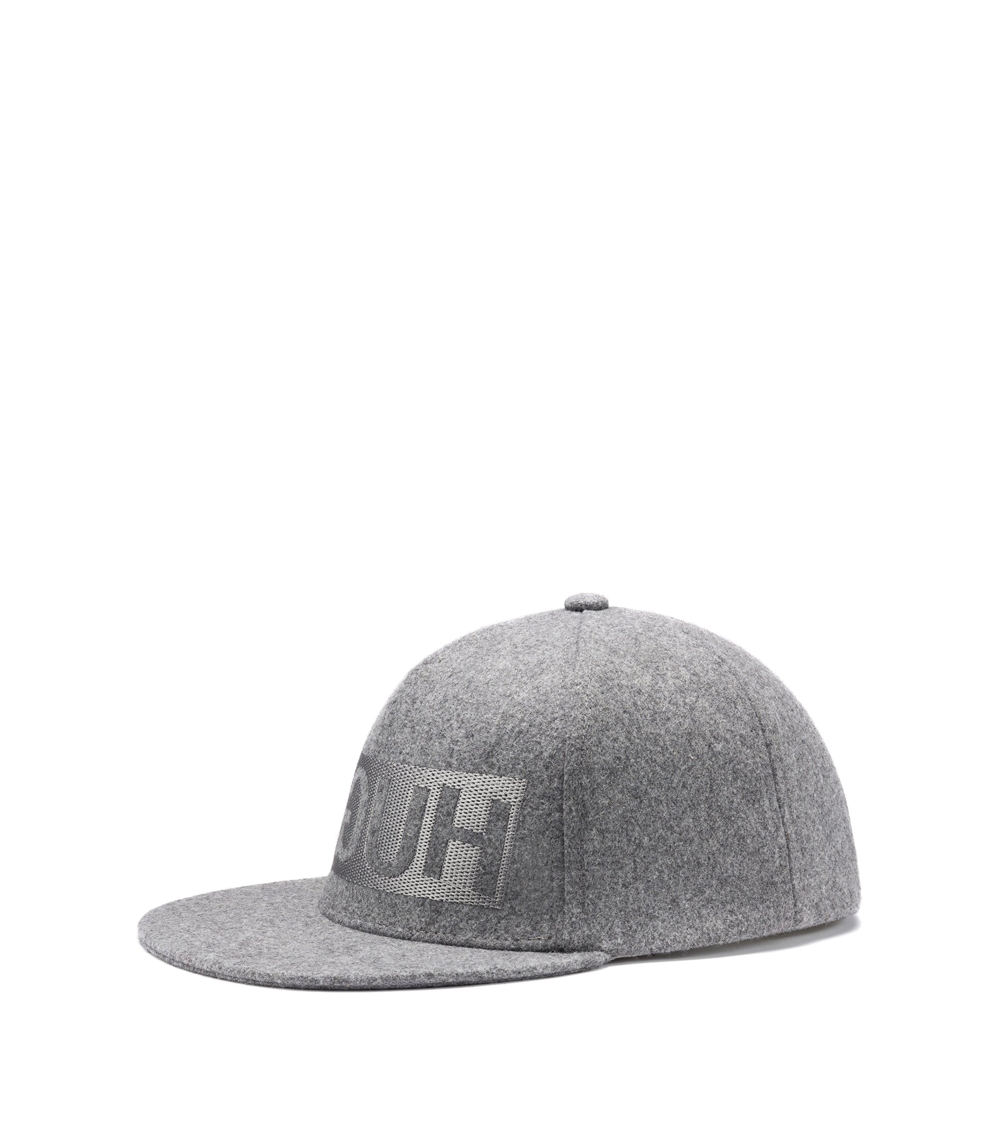 Reverse-logo baseball cap in wool felt , Grey