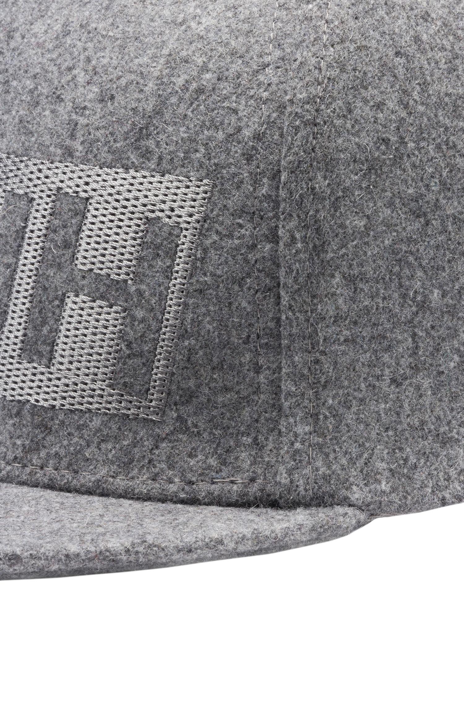 Cappellino da baseball in feltro di lana con logo a rovescio , Grigio