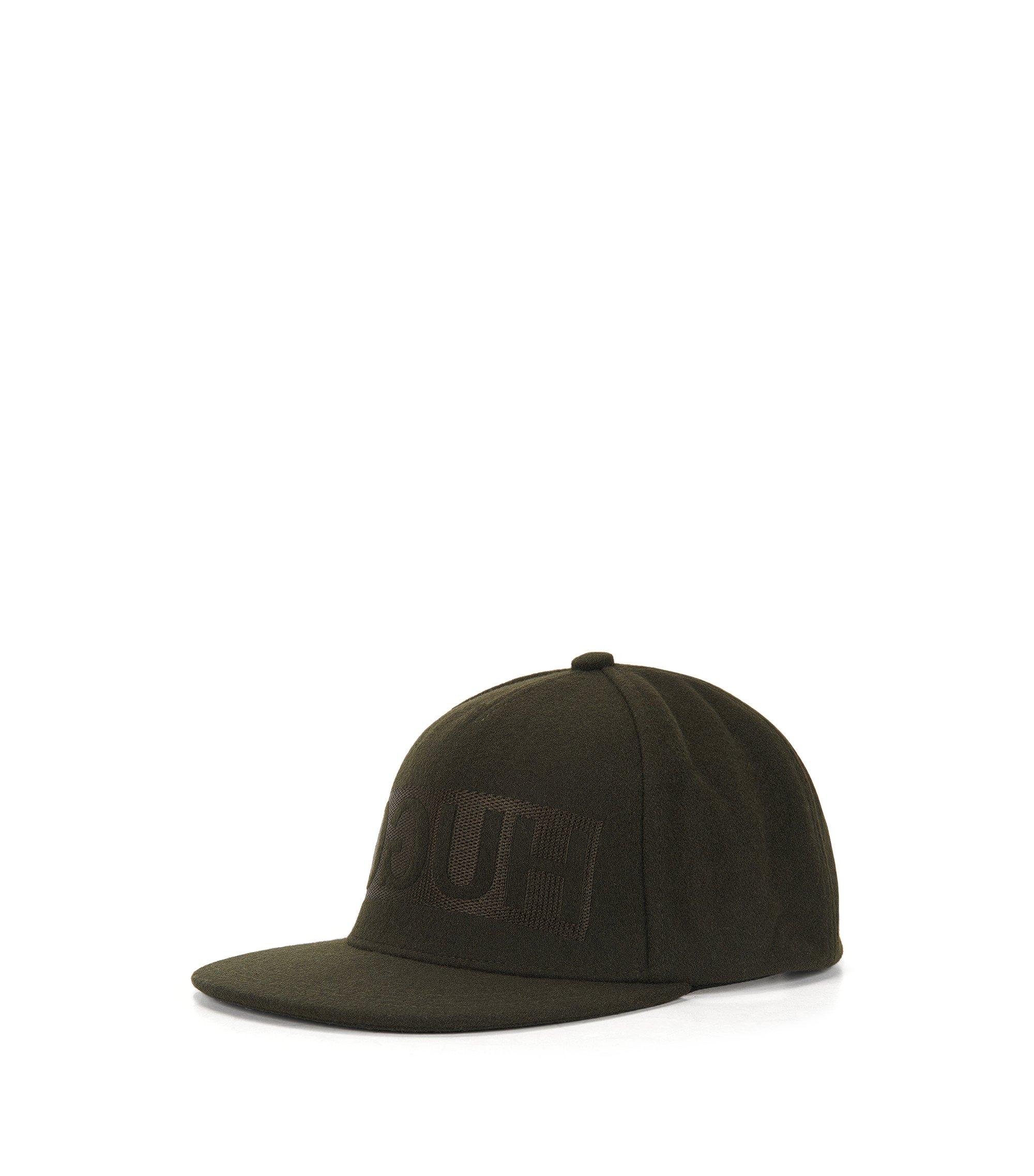Cappellino da baseball in feltro di lana con logo a rovescio , Verde scuro