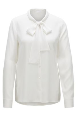 Regular-fit blouse van crêpe de Chine , Naturel