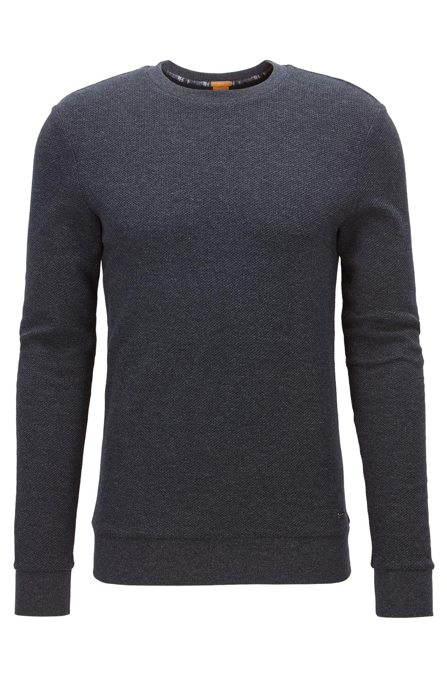 Slim-Fit Pullover aus melierter Baumwolle mit Waffelstruktur