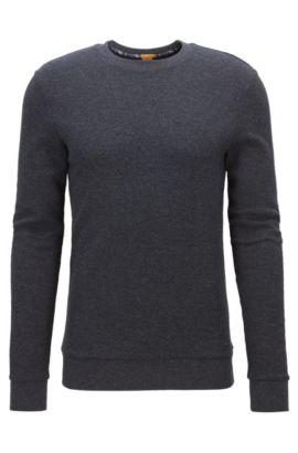 Waffle-structure sweater in heathered cotton, Dark Blue