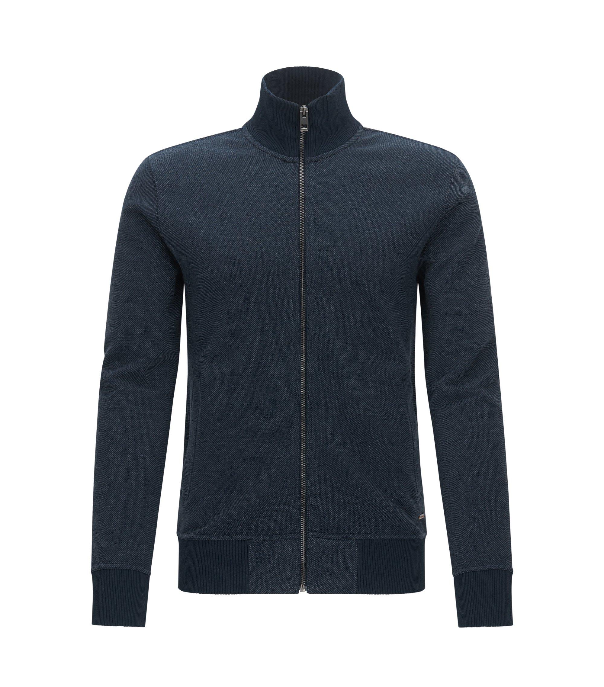 Regular-fit sweatshirt van een katoenmix, Donkerblauw