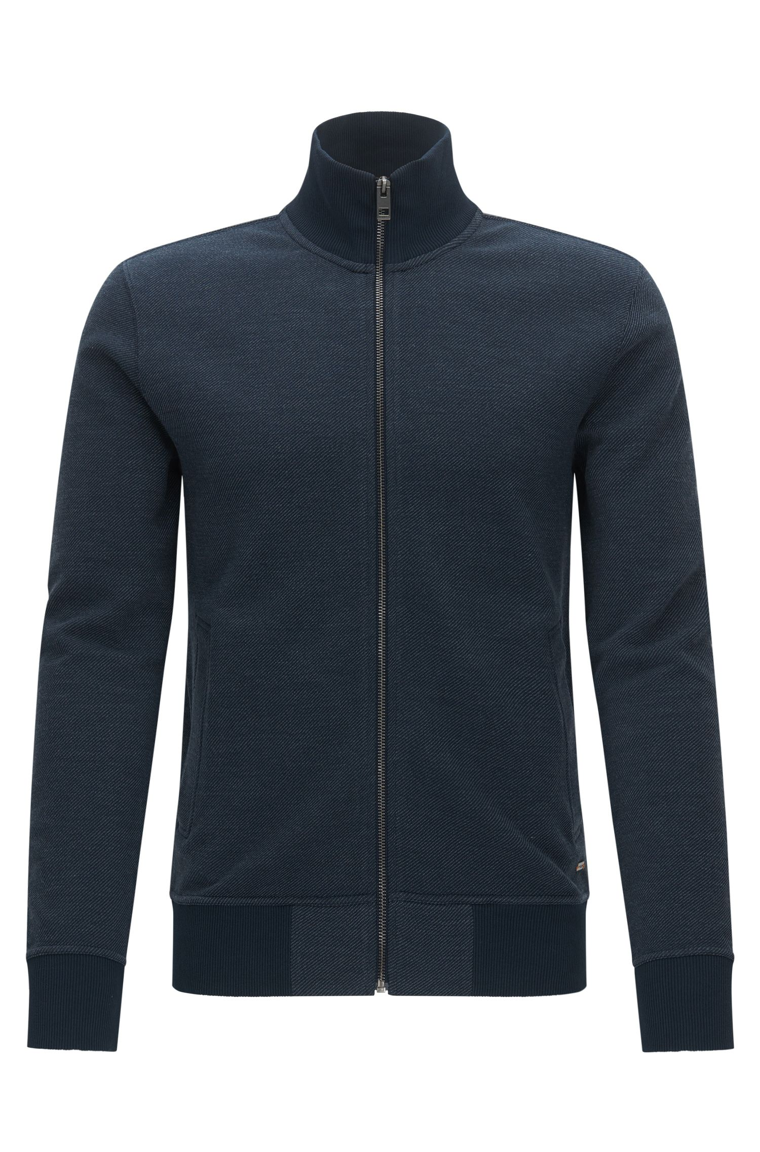 Regular-Fit Sweatjacke aus Baumwoll-Mix