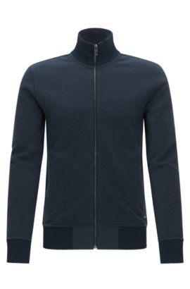 Regular-Fit Sweatjacke aus Baumwoll-Mix, Dunkelblau