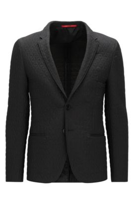 Extra-slim-fit jacket in quilted fabric, Black