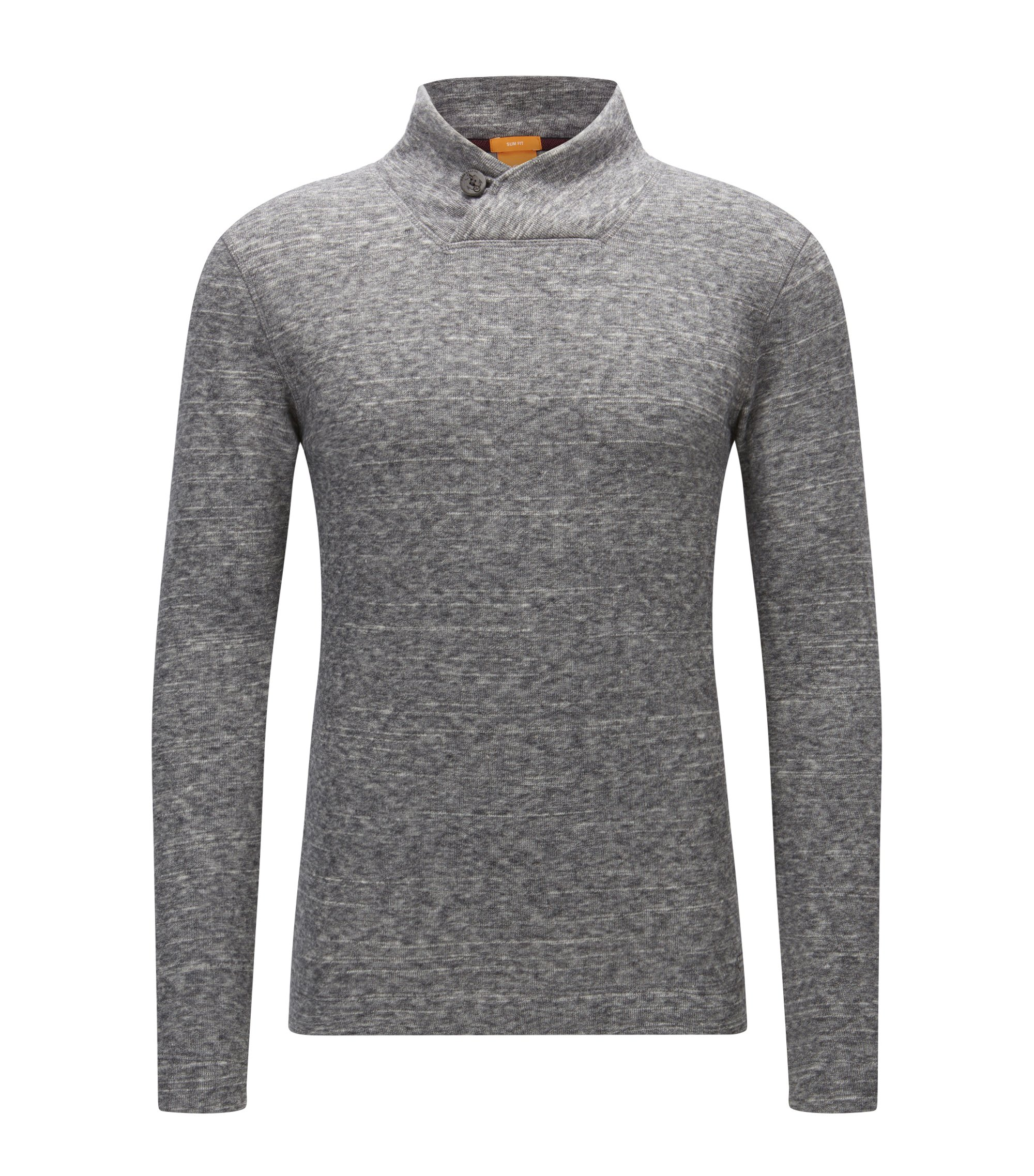 Button-collar sweater in double-faced jersey, Light Grey