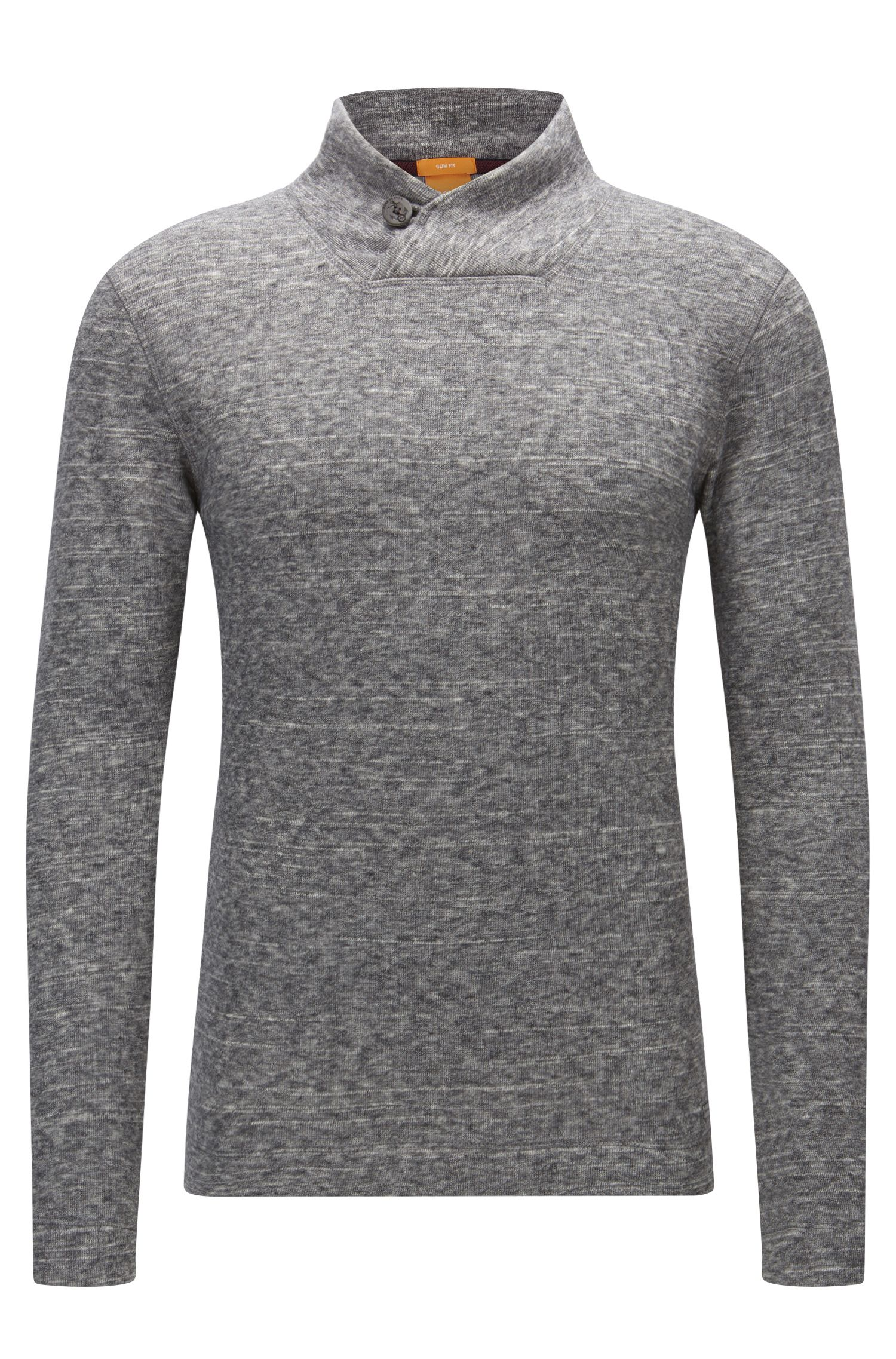 Button-collar sweater in double-faced jersey