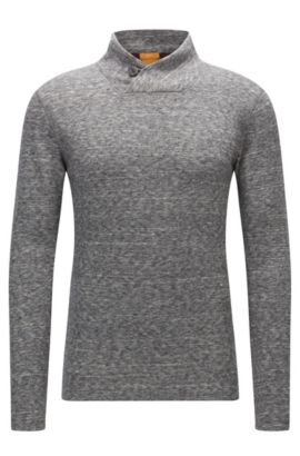 Sweat en jersey double face à col boutonné, Gris chiné
