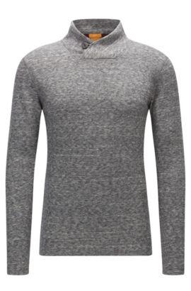 Maglione con colletto abbottonabile in jersey double-face, Grigio chiaro