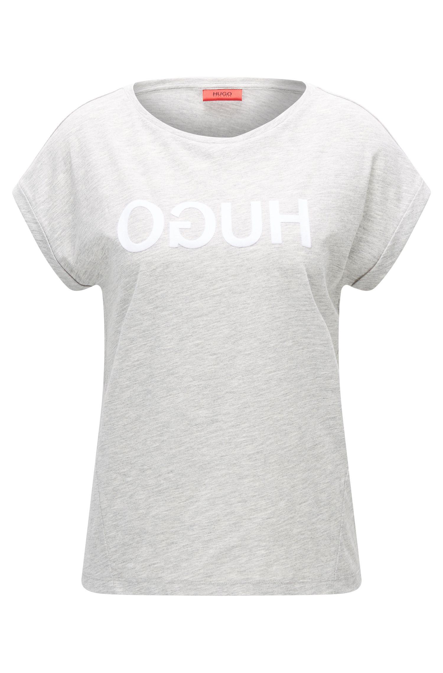 Relaxed-fit T-shirt van katoenjersey met gespiegeld logo