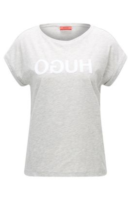Relaxed-fit cotton-jersey T-shirt with reverse logo, Light Grey