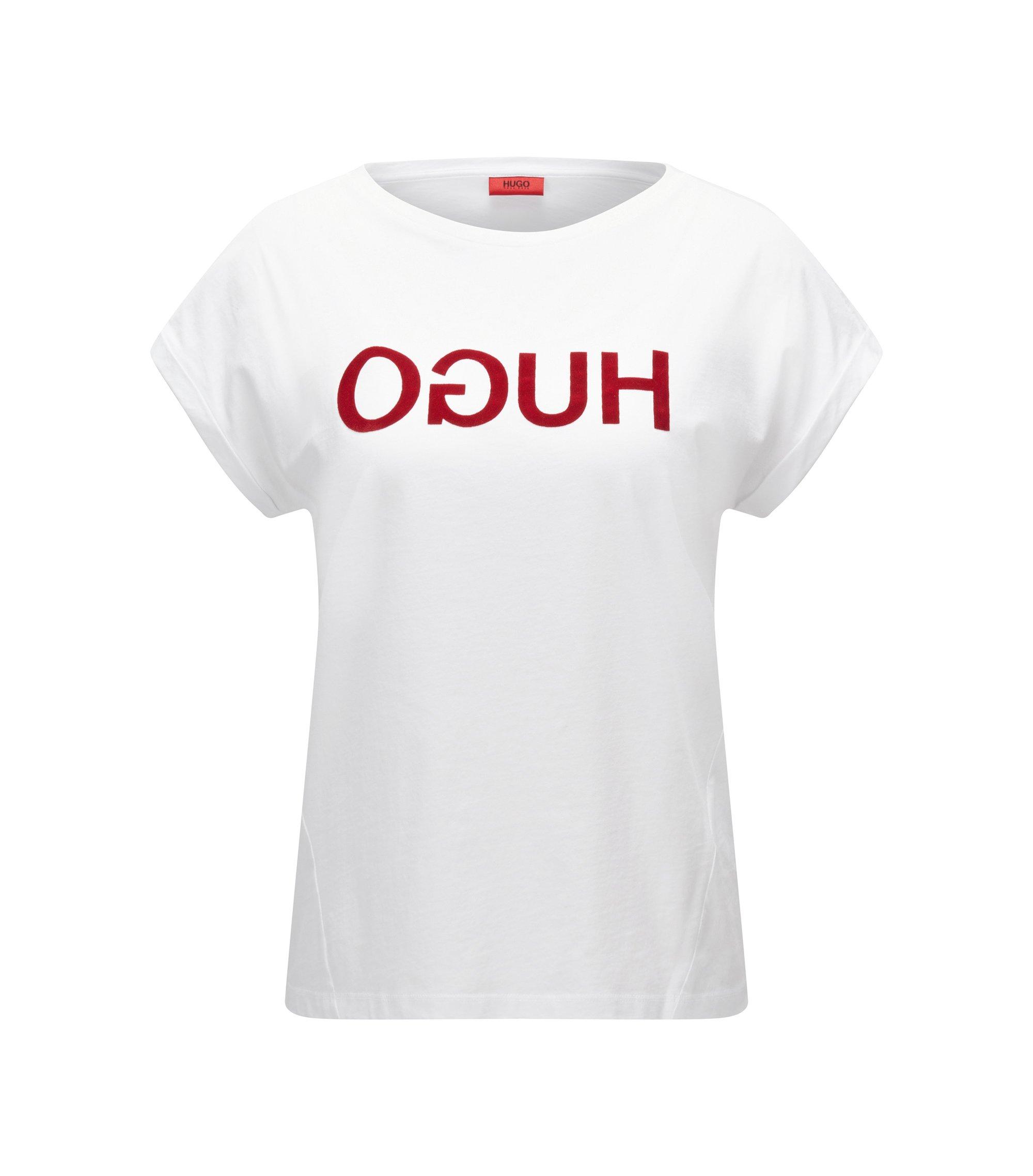 Camiseta relaxed fit en punto de algodón con logo invertido, Blanco