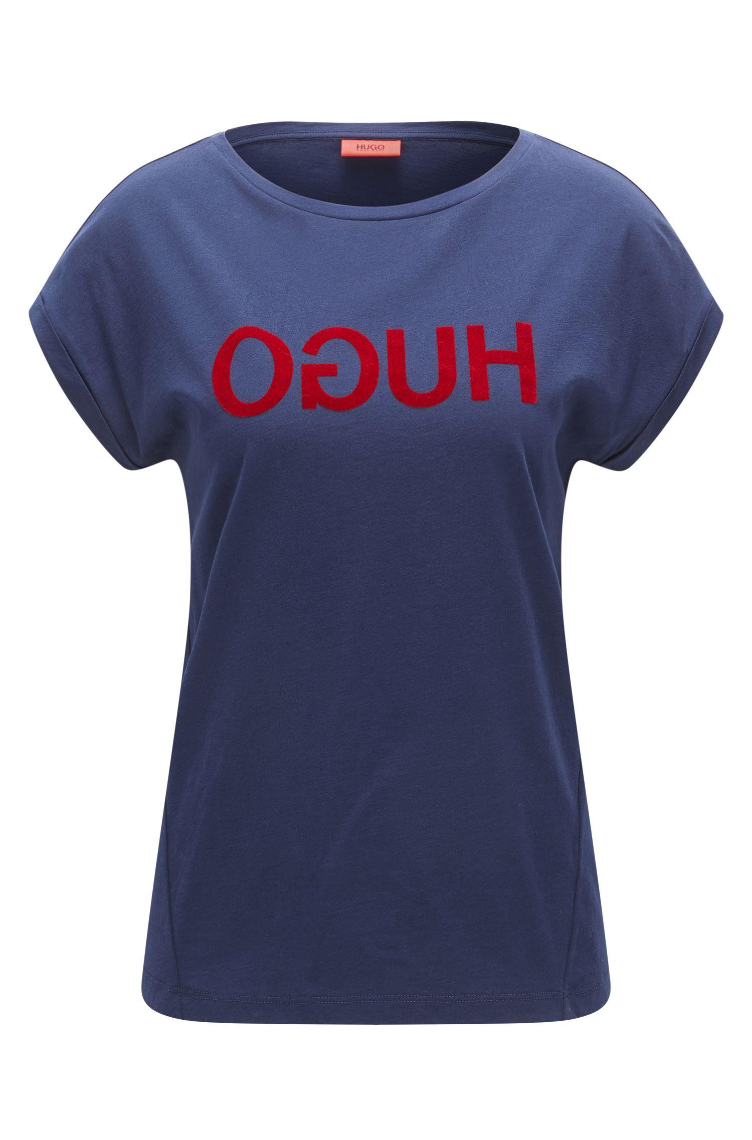 Camiseta relaxed fit en punto de algodón con logo invertido