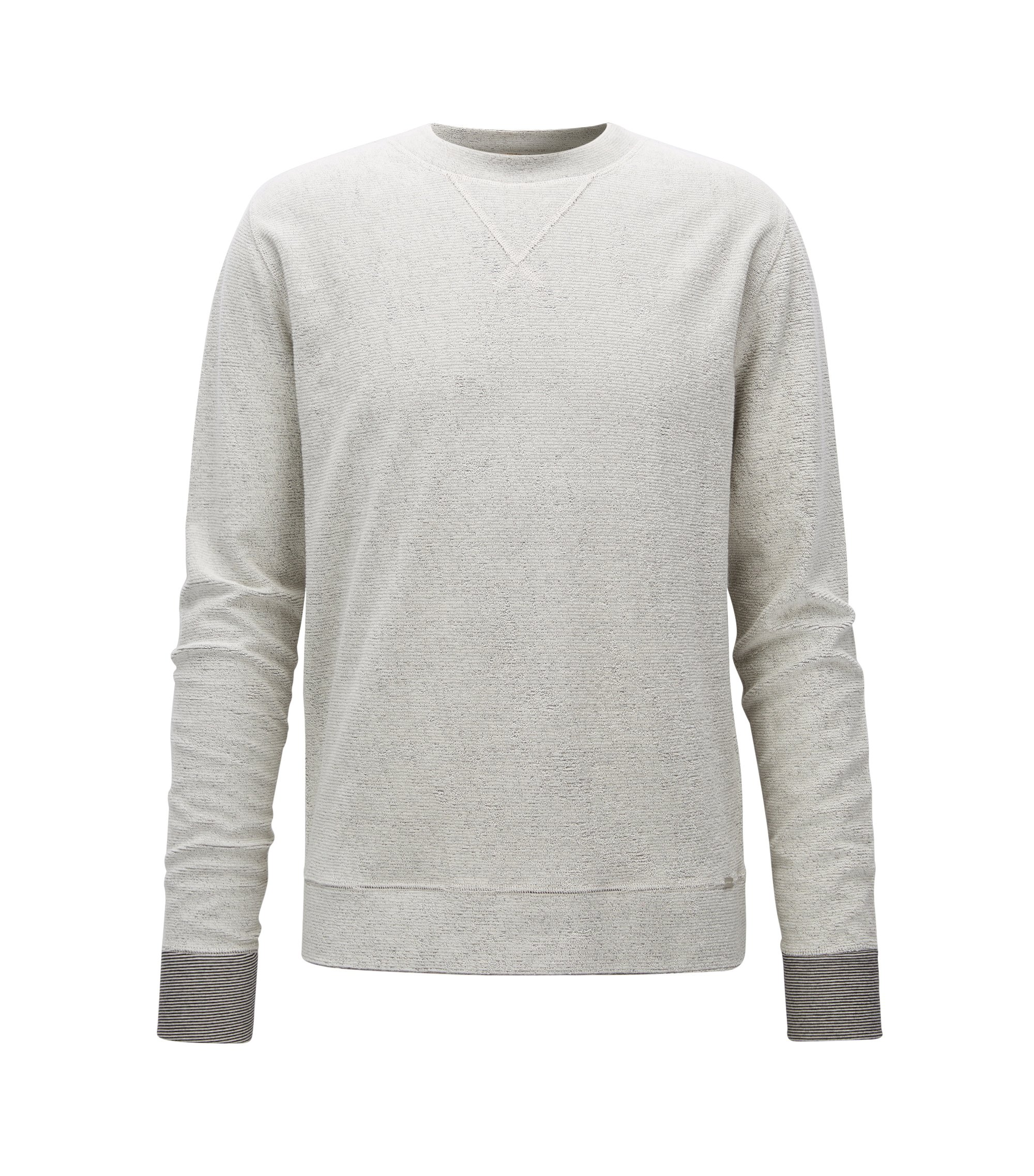 Relaxed-fit reversible sweatshirt in cotton, Open White