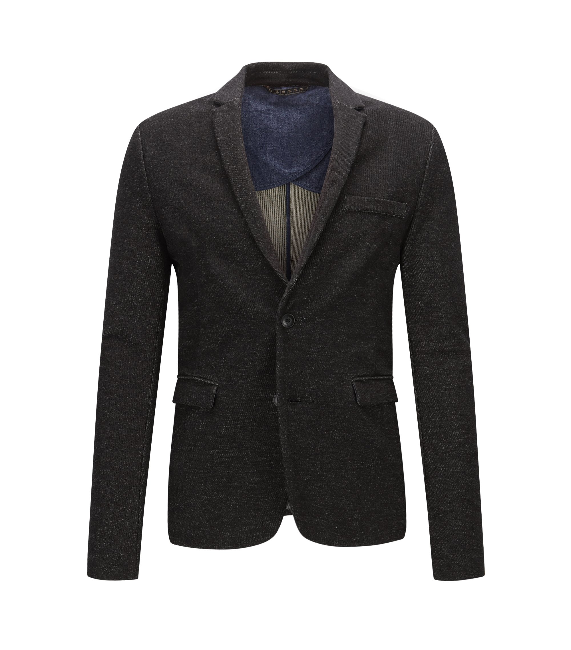Slim-fit jacket in denim jersey, Black