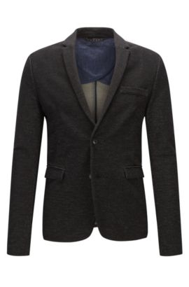 Chaqueta slim fit en punto de denim, Negro