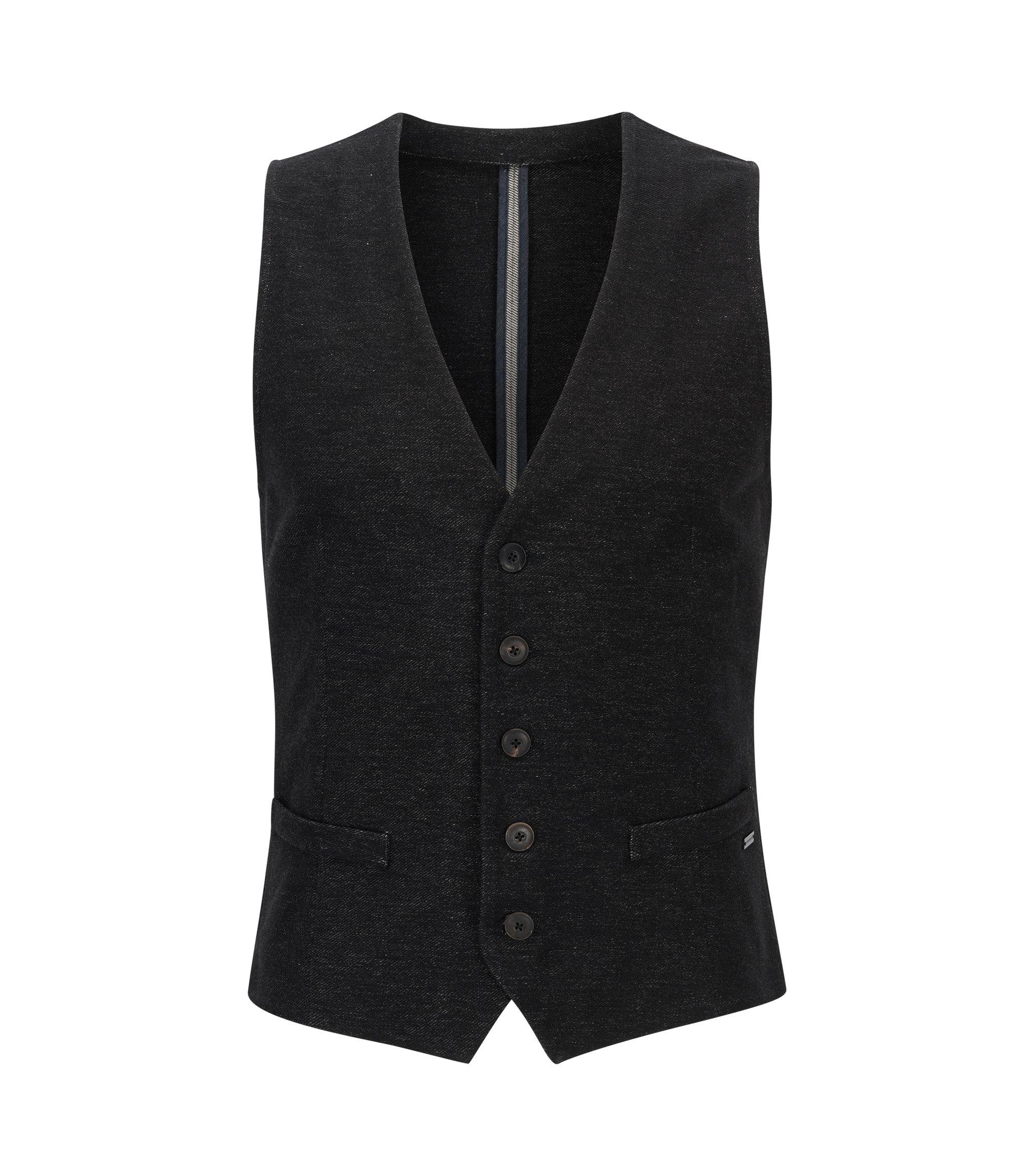 Slim-fit waistcoat in denim jersey, Black