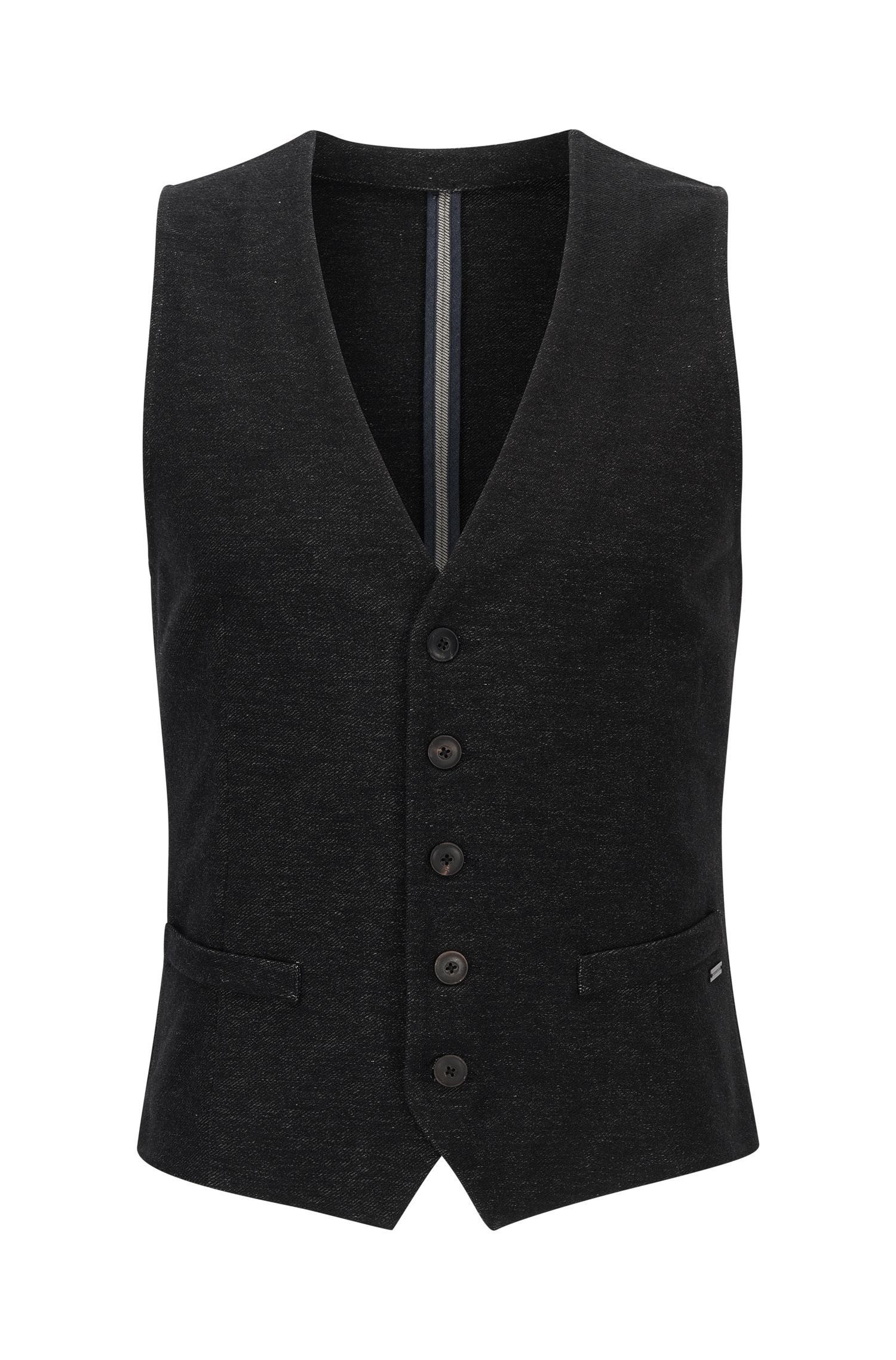 Gilet slim fit in jersey denim