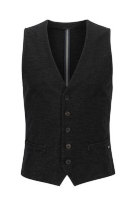 Gilet slim fit in jersey denim, Nero