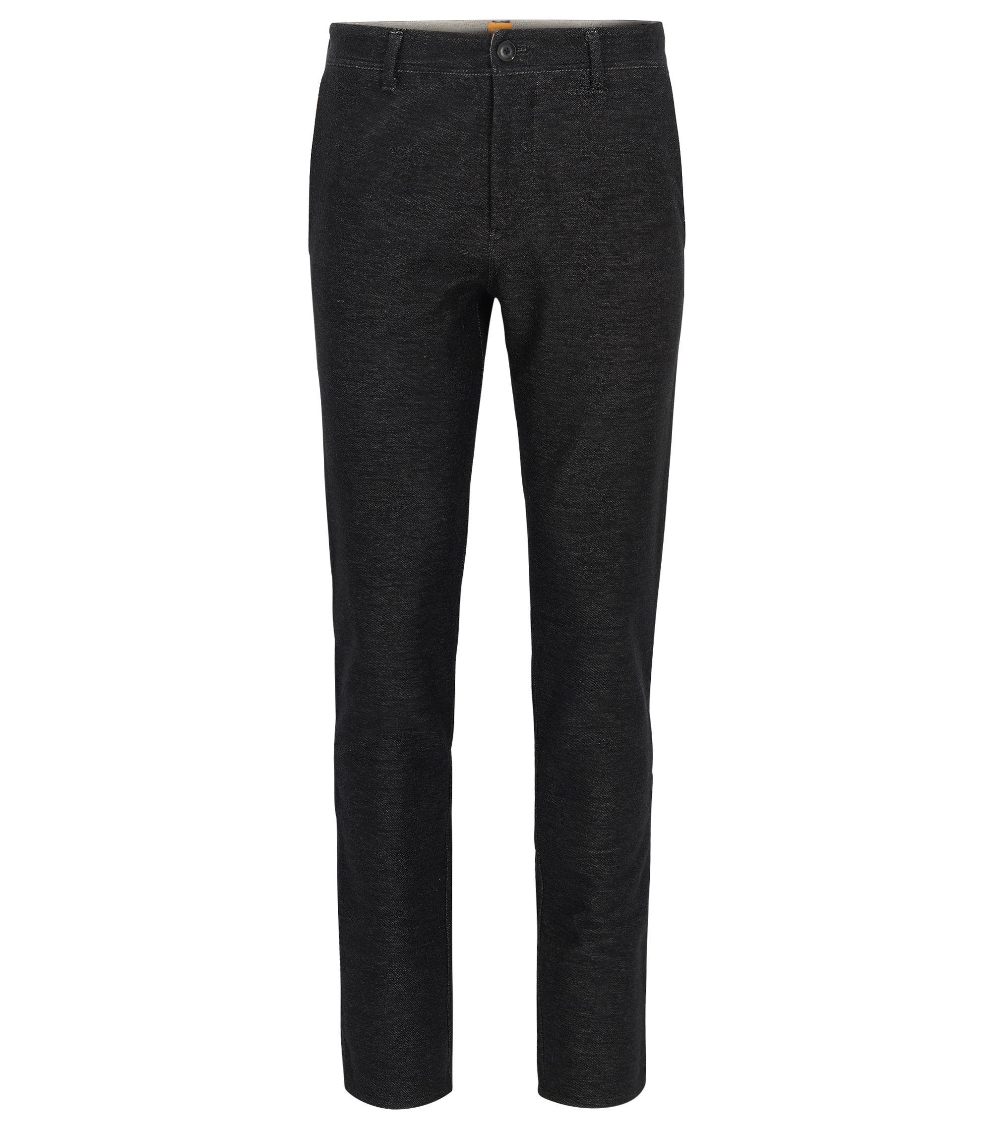 Tapered-fit trousers in stretch jersey, Black