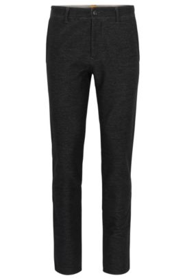 Pantaloni tapered fit in jersey elasticizzato, Nero
