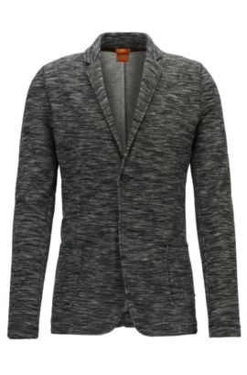 Melange slim-fit jacket in double-faced jersey, Anthracite