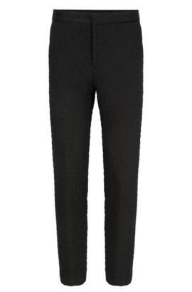 Extra slim-fit broek van geruit materiaal, Zwart