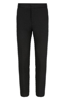 Extra-slim-fit trousers in quilted fabric, Black
