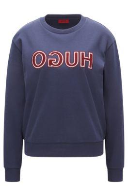 T-shirt van katoen met lange mouwen en gespiegeld logo in varsitystijl, Donkerblauw