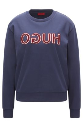 Long-sleeved cotton T-shirt with varsity-style reverse logo, Dark Blue