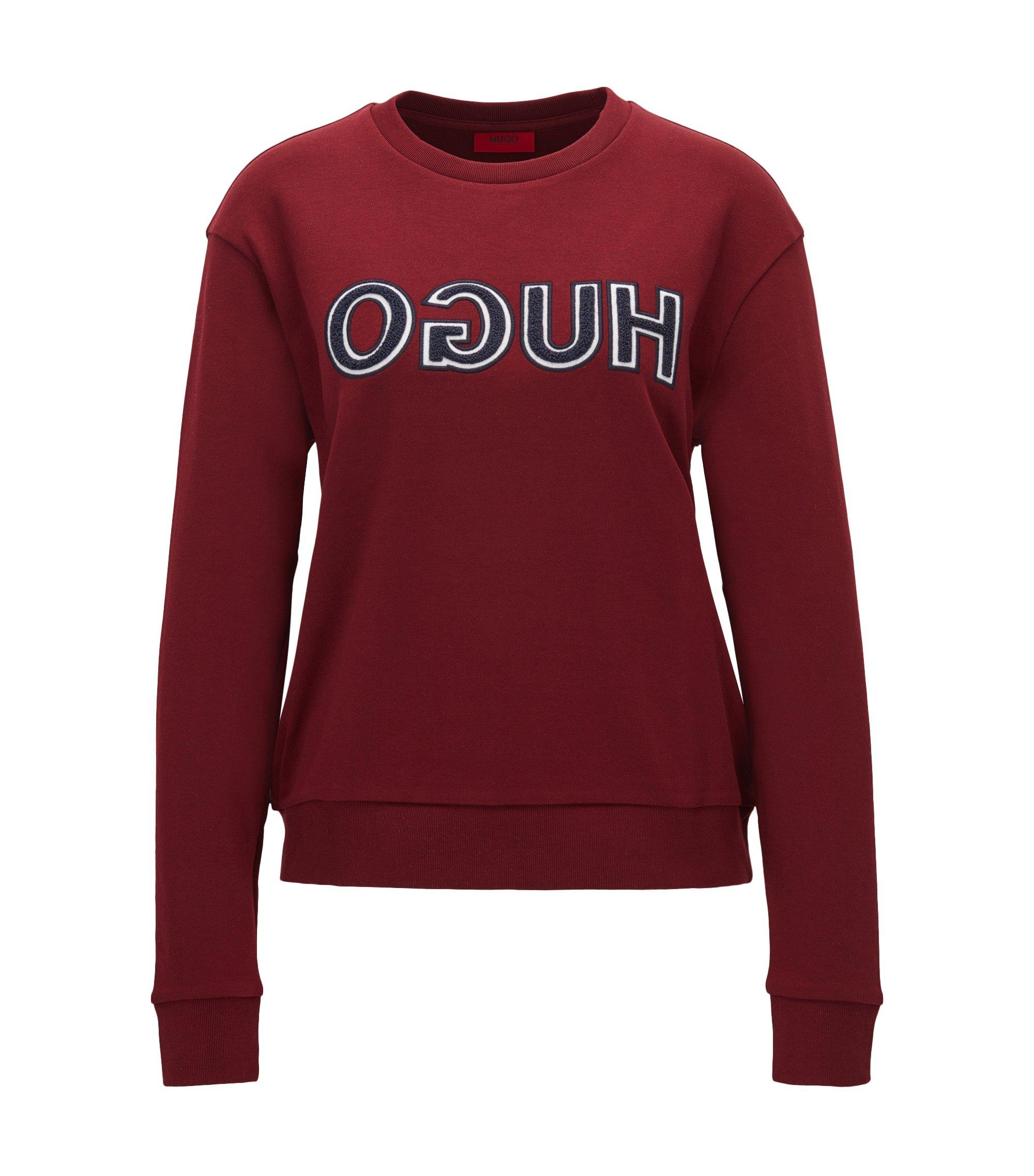 T-shirt manches longues en coton à logo inversé de style universitaire, Rouge sombre