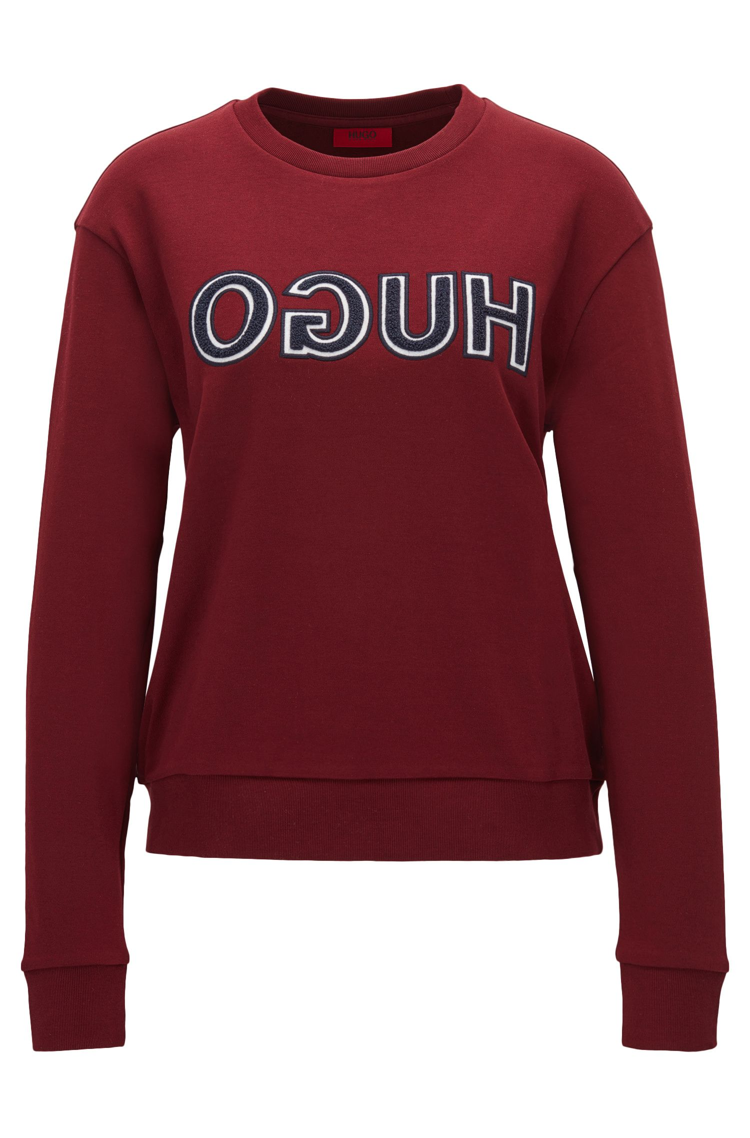 Long-sleeved cotton T-shirt with varsity-style reverse logo