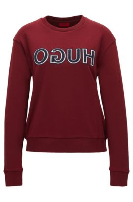 Long-sleeved cotton T-shirt with varsity-style reverse logo, Dark Red